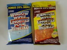 New ! 30 Furniture Lemon Scented Wipes and 30 Window wipes New 7 in. x 10 in