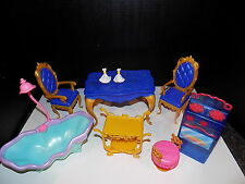 BARBIE CASTLE FURNITURE TABLE CHAIRS  tub cart  ACCESSORIES