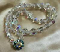 VINTAGE Rainbow Aurora Borealis Graduated Necklace Carnival Beaded Clasp #2