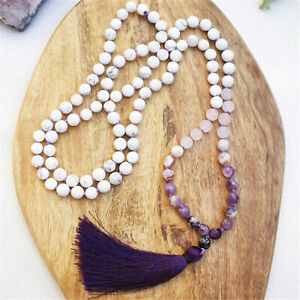 Natural Howlite 108 Beads Handmade Tassel Necklace Chakra Lucky Prayer