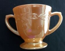 Vintage Fire King Peach Luster Laurel Leaf Sugar Bowl