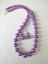 1pc handmade necklace and earring set 12mm round purple glass beads