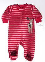 NWT Carters Baby Boy Pajamas Moose Footed Fleece Sleeper 3 Mos Red Christmas 1PC