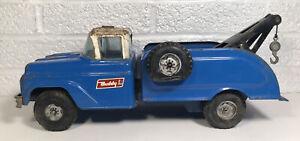 Vintage 1960s Buddy L Pressed Steel Fix My Flat Tire Wrecker Tow Truck