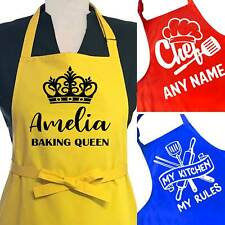 More details for personalised apron kitchen cooking baking salon men women funny text name black