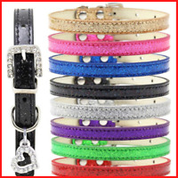 Pet Collar Bling Love Heart Crystal Pendants Necklace Safety Soft Leather Strap