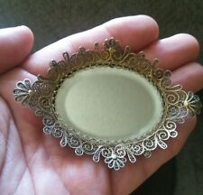 Antique Sterling Silver Filigree Dollhouse Miniature Footed Mirror Serving Tray