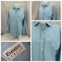 Emmett London Dress Shirt 16 34 Blue Green Stripe French Cuffs Mint YGI P1-152