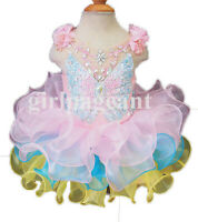 infant//toddler//baby Crystals Cap Sleeves Pageant Dress  204-1 with hairbow