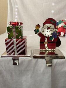 Set of 2 Metal Stocking Holders - Santa and Christmas Gift