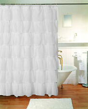 1 Piece Gypsy Ruffle Crushed Sheer Shabby Chic Bathroom Fabric Shower Curtain