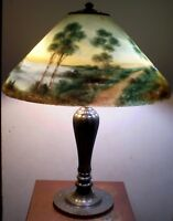 BEAUTIFUL SIGNED JEFFERSON REVERSE PAINTED LAMP, WOODLANDS AND WATER  c.1910