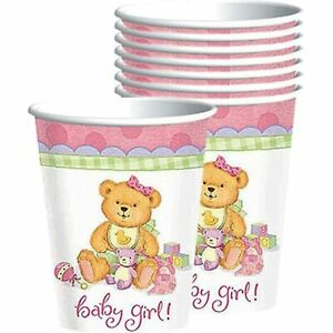 Precious Bear Pink Little Teddy Girl Cute Baby Shower Party 9 oz. Paper Cups