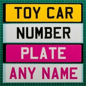 2 x Personalised Vinyl Kids / Childrens Toy Car Number Plate with Name/Reg