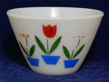 "Vintage FIRE KING 5 1/2"" TULIPS Splash Proof  Mixing Bowl  Oven Ware 1950's"