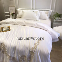 Luxury 60S Washed Silk Pure Embroidery Bedding Set Silky Duvet Cover Bed Sheet