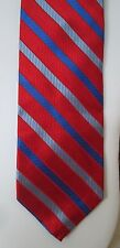 GRANT THOMAS for Lord & Taylor $40 Red/Blue/Royal Striped Silk Neck Tie NWT