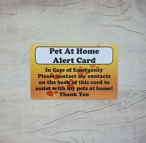 Pet Home Alone PVC Wallet Card - Pet Alert - ICE Card - Safety