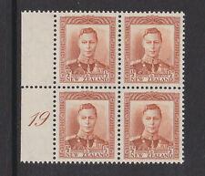 NEW ZEALAND 1938-44 ½d ORANGE-BROWN PLATE 19 CP M1b/ SG 604 MINT.