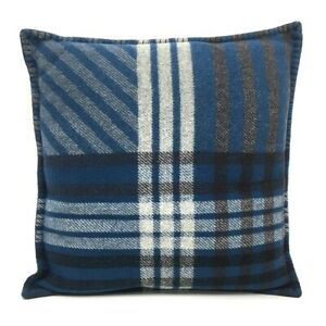 HERMES S Covered Check Double face fabric cushion wool Blue x gray