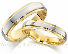 10K WHITE YELLOW TWO TONE GOLD HIS HERS MATCHING WEDDING RINGS BANDS SET SHINY