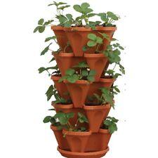 Plastic Vertical Stackable Planter Plant Herb Flower Pot Outdoor Garden (5-Pack)