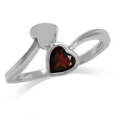Natural Heart Garnet White Gold Plated 925 Sterling Silver Bypass Ring SZ 6