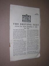 1955. THE DRIVING TEST. HMSO LEAFLET. ADVICE FOR THOSE TAKING THE TEST.