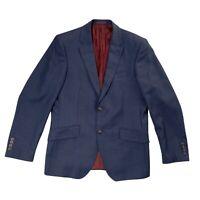 M&S COLLECTION Indigo Blue Check Wool Tailored Fit Blazer Jacket Size 38 UK