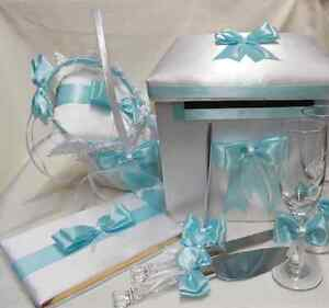 Aqua Pool Blue Flower Girl Basket Pillow Guest Book Pen Card Box Cake Server