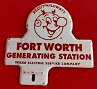 Vintage REDDY KILOWATT FT WORTH TX ELECTRIC COMPANY License Plate Topper
