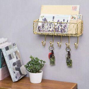 Wall Mounted Metal Entryway 5 Hook Key Holder & Mail Organizer Storage Basket