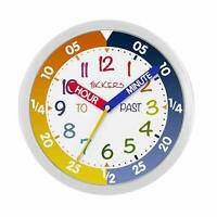 Tikkers Time Teacher Kids Wall Clock Silent Sweep Seconds Movement White