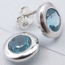 925 Solid Silver CUT BLUE TOPAZ Round MODERNISTIC Stud Earrings 1.0 CM ARTISAN