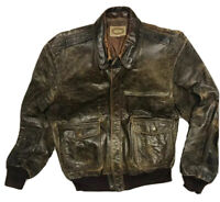 Banana Republic Vintage Flight Bomber Distressed Brown Leather Jacket 44 Long