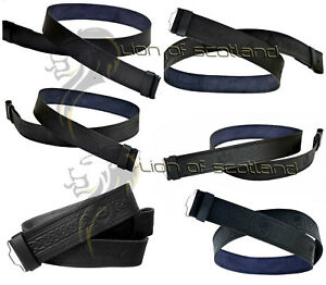 Scottish Kilt Belt Buckle Black Leather Embossed Celtic Knot,Thistle,Masonic M,L