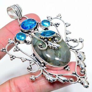 "Labradorite, Blue Topaz Gemstone Handmade Ethnic Jewelry Pendant 3.78"" LJ"