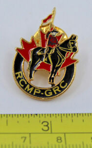 RCMP Royal Canada Mounted Police on Horse with Flag Collectible Pin