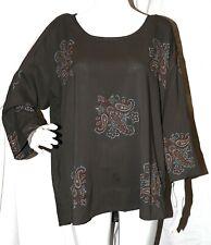 New $345 PURE DKNY Quarry gray top shirt with Paisley design Medium Silk Blend M
