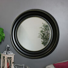 Large round black metal framed wall mirror retro industrial living room hallway