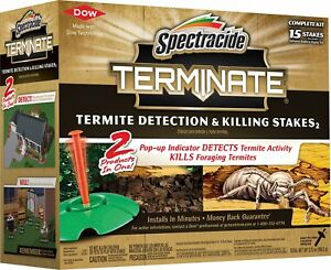 1 Pack 15 Count Termite Detection & Killing Stakes W/ Pop-up Termite Indicators
