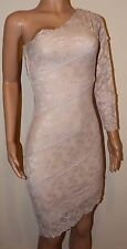 VICKY MARTIN nude beige lace fitted one shoulder sleeve dress 8 10 BNWT wedding