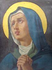 Tableau religieux Sainte vierge Marie huile sur toile XIXe