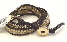 LUCKY BRAND  BRACELET, WRAP STYLE, GOLD FACETED BEADS, CITRINE STONES, NWT, $45!