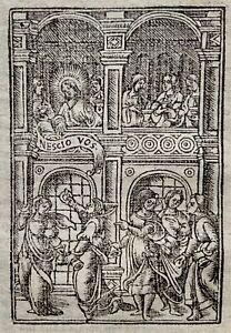 1541 Regnault Bible - Fine woodcut leaf - PARABLE OF 10 VIRGINS