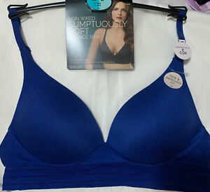 M&S  SUMPTUOUSLY SOFT NON WIRED PLUNGE LOUNGE BRA In COBALT BLUE Size 36A