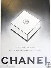 1946 CHANEL No 5 Very Fine Face Powder Black White Logo Box art Vintage Print Ad