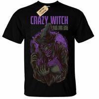 Kids Boys Girls Crazy Witch T-Shirt Mens halloween creepy gothic