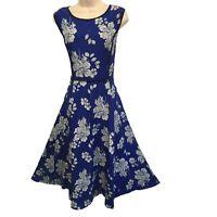 Gorgeous J. Peterman Cobalt Blue Violet Floral Silk Long Dress Size 8