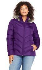 NEW Lands End Down Coat Jacket Faux Fur Hood Purple 2X